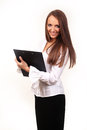 Business woman blank page clip board facing camera Stock Photography