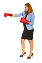 Business woman with box gloves Stock Photos