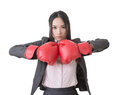 Business woman with boxing gloves Royalty Free Stock Photo