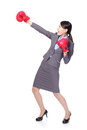 Business woman boxing, punching Royalty Free Stock Photo