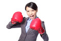 Business woman boxing ready to fight Royalty Free Stock Photo
