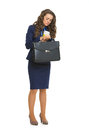 Business woman with briefcase looking on watch Royalty Free Stock Photo