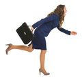 Business woman with briefcase running sideways full length portrait of Royalty Free Stock Photos