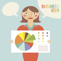 Business woman with business idea vector illustration Stock Photography