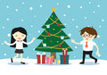 Business woman and businessman feeling happy with a Christmas tree and gift boxes. Royalty Free Stock Photo