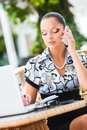Business woman in cafe young beautiful Royalty Free Stock Images