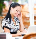 Business woman in cafe young beautiful Royalty Free Stock Photos