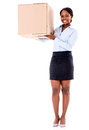 Business woman carrying a box moving and isolated over white Stock Image