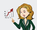 Business woman cartoon style hand drawn pointing to economic charts Royalty Free Stock Image