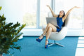 Business woman celebrates successful deal at office. Bussiness P Royalty Free Stock Photo