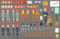Business Woman Character Creation Constructor. Woman in Different Poses. Female Person with Faces, Arms, Legs, Hairstyles