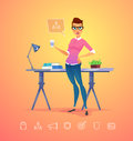 Business woman character. Isolated vector illustration. Royalty Free Stock Photo