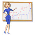 Business woman with chart background Royalty Free Stock Photo