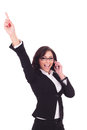 Business woman cheers on the phone young cheering while speaking white background Royalty Free Stock Image