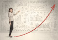 Business woman climbing on red graph arrow concept background Stock Image