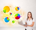 Business woman with colorful graphs and charts concept Royalty Free Stock Photos