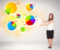 Business woman with colorful graphs and charts concept Royalty Free Stock Images