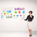 Business woman with colorful graphs and charts concepts Royalty Free Stock Photography