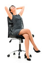 Business woman in a comfortable chair sitting isolated over white Royalty Free Stock Photo