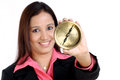 Business woman with compass Royalty Free Stock Photos