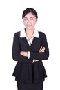 Business woman confident smile standing isolated on white background Royalty Free Stock Photos