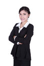 Business woman confident smile standing isolated on white background Stock Photo