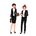 Business woman in costume, files and case, office worker team Royalty Free Stock Photo