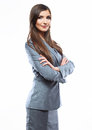 Business woman crossed arms against white backgrou Royalty Free Stock Photo
