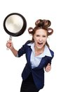 Business woman with curler screaming and holding funny picture of young at camera pan isolated on white background Stock Images