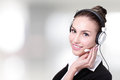 Business woman customer service worker call center smiling operator with phone headset Royalty Free Stock Photography
