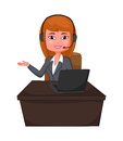 Business woman a Customer support with headphones