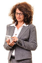 Business woman dialing smart phone adult or working on android smartphone isolated on white Royalty Free Stock Photos