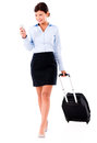 Business woman doing check in online going on a trip and Royalty Free Stock Image