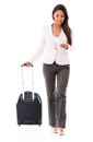 Business woman doing check in online going on a trip and Royalty Free Stock Images
