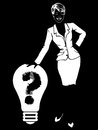 Business woman don t have any idea black and white illustration with who do not Stock Images