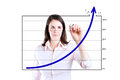 Business woman drawing achievement graph young over target on white Royalty Free Stock Images
