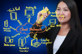 Business woman drawing cloud network diagram Stock Photo