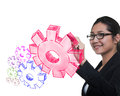 Business woman drawing gear to success Royalty Free Stock Photography