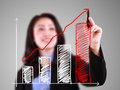 Business woman drawing up trend bar chart photo concept for layout editing design Royalty Free Stock Image