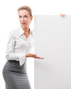 Business woman with empty poster Royalty Free Stock Images