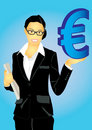 Business woman and Euro money Stock Image