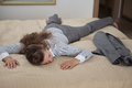 Business woman fall down from exhaustion in room Royalty Free Stock Photo