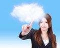 Business woman finger touch cloud Royalty Free Stock Image