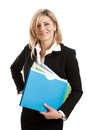 Business woman with folders Royalty Free Stock Photo