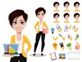 Business woman, freelancer, banker. Beautiful lady in casual clothes Royalty Free Stock Photo