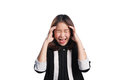 Business woman frustrated and stressed on white background. Royalty Free Stock Photo