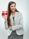 Business woman gift. White background Royalty Free Stock Image
