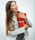 Business woman gift. White background Stock Images