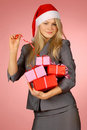 Business-woman & gifts Royalty Free Stock Image