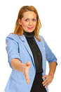 Business woman giving hand shake Royalty Free Stock Photos